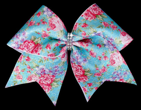 Floral Cheer Bow, vintage cheer bow, cheer bows, theme cheer bow, blue cheer bow, christmas gift ideas, gifts for cheerleaders