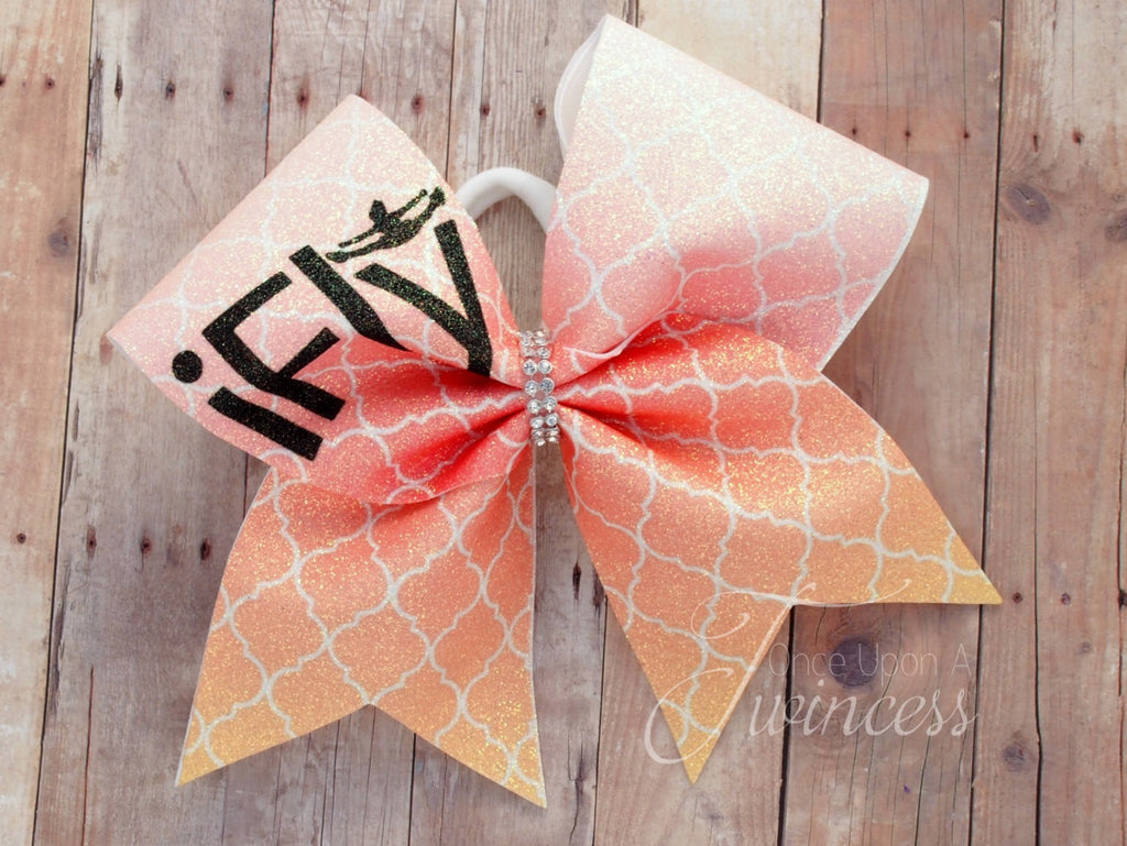 flyer cheer bow, cheer bow for flyers, team cheer bow, orange and pink bow, gifts for cheerleaders, gifts for girls, glitter cheer bow