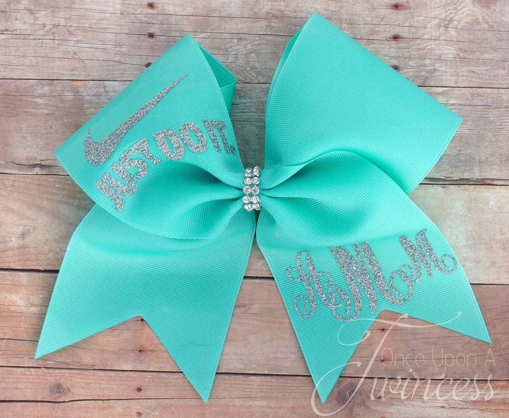 Aqua Monogram Cheer Bow