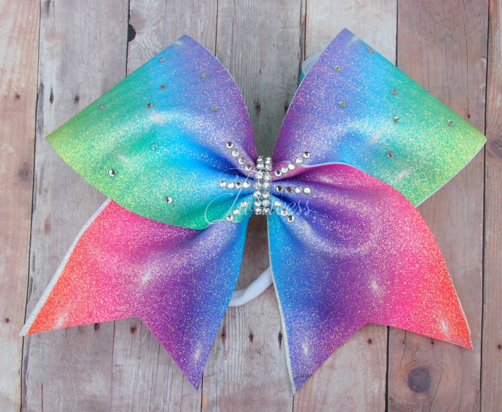 Rainbow Sparkle Cheer Bow