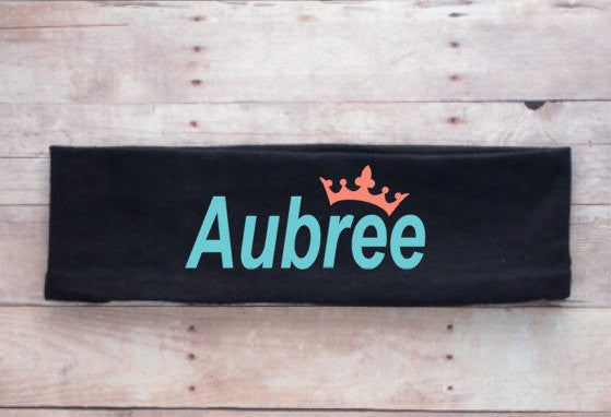 Personalized Headband, gifts for girls, cheerleading gifts, headbands with sayings, hair accessories, coral and aqua