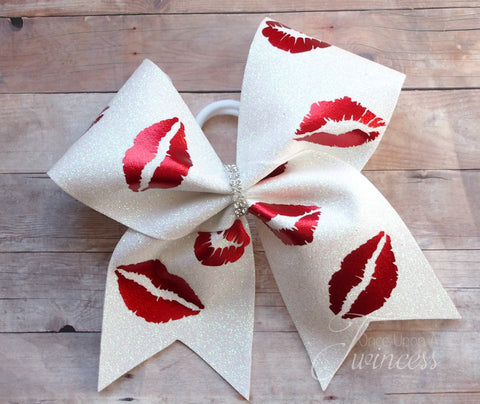Kisses Cheer Bow, gifts for cheerleaders, cheer bows for Nationals, cheer bows for competition, theme bows,