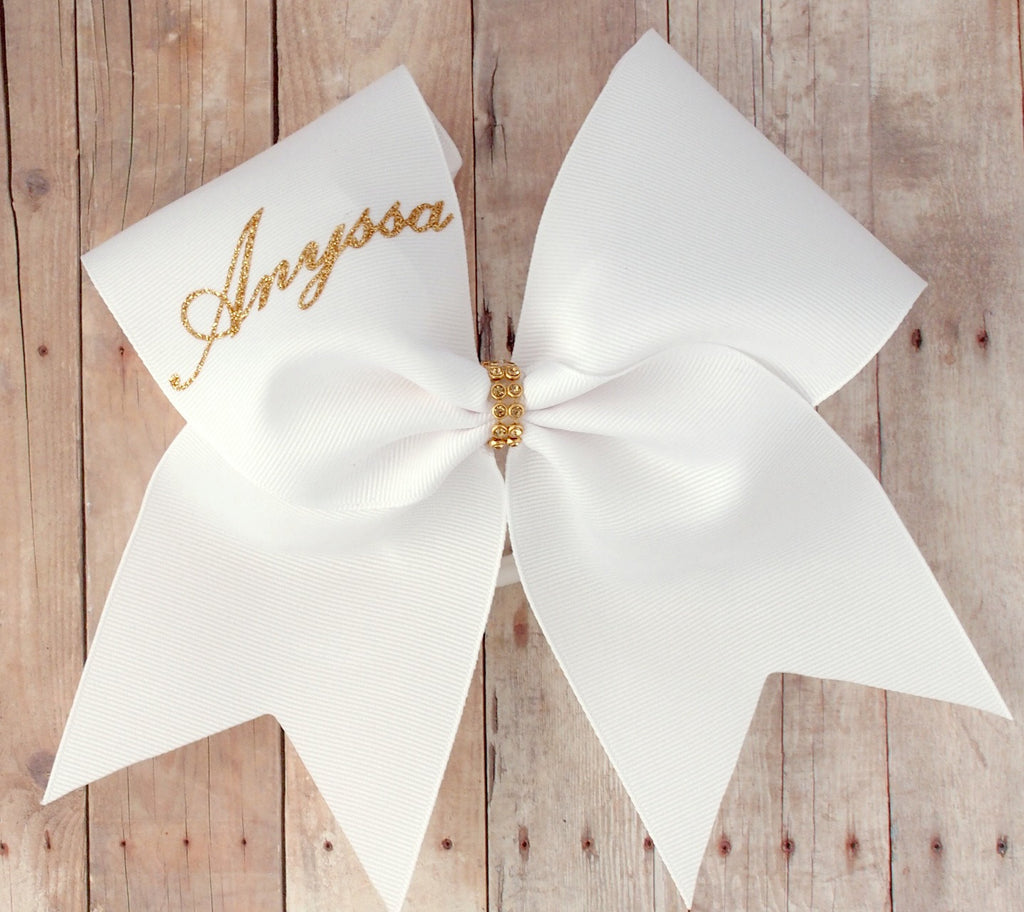 White and Gold personalized cheer bow