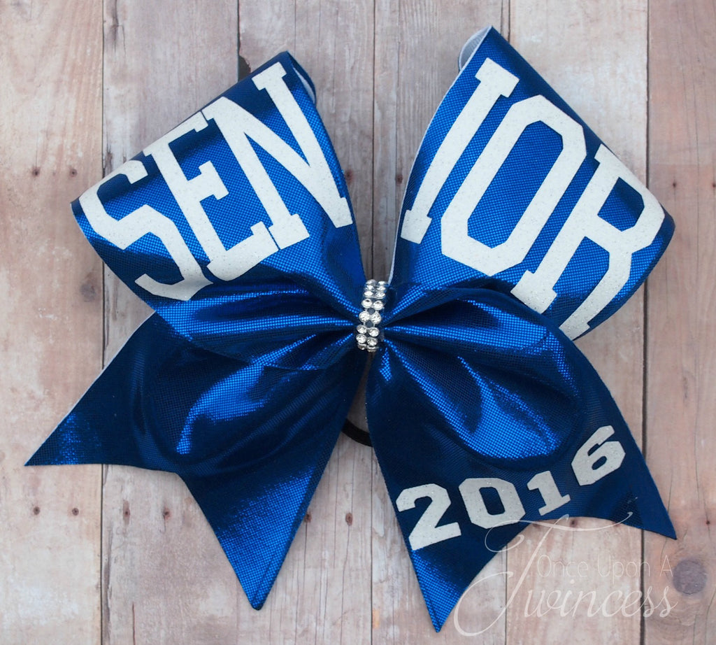 Senior Cheer Bow, Senior 2016, Cheer Bows, Royal blue cheer bow, cheer teams, Nationals bow, graduation 2016, Senior night