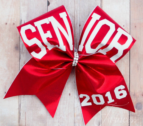 Senior cheer bow, seniors 2017, red cheer bow, made to match team colors, cheer team bows, gifts for graduation, senior night