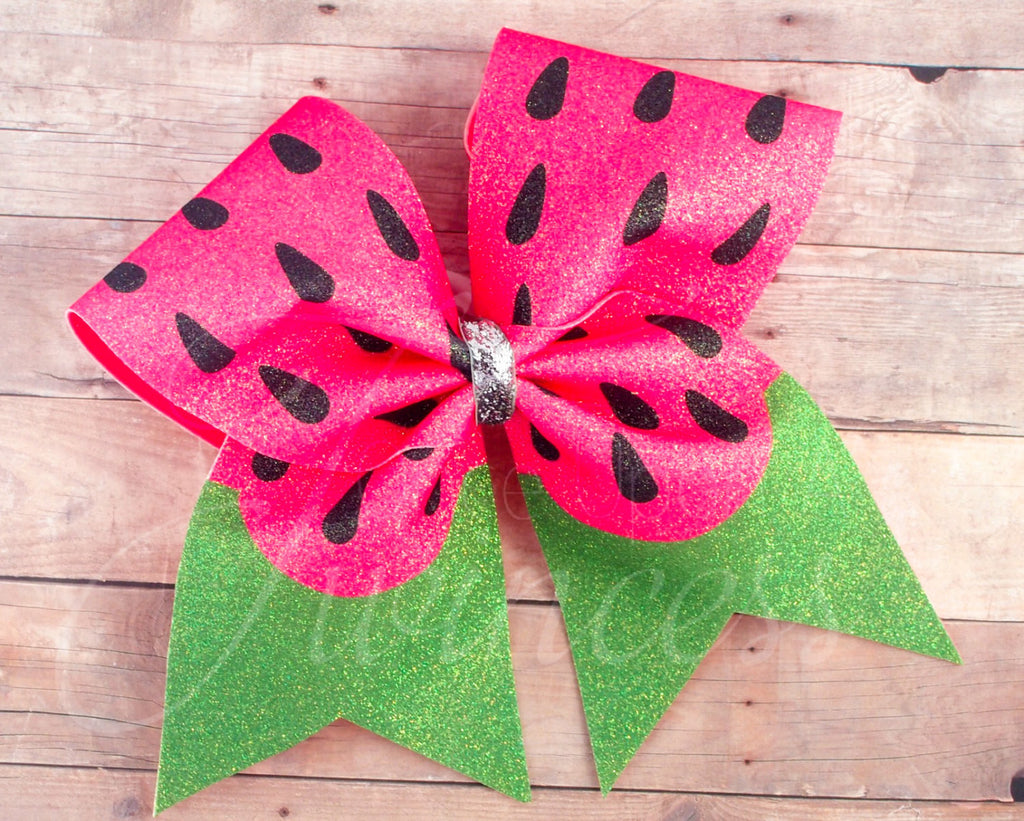 Watermelon cheer bow, bows for summer, gifts for cheerleaders,  Practice bow, pink and green cheer bow, cheer bows