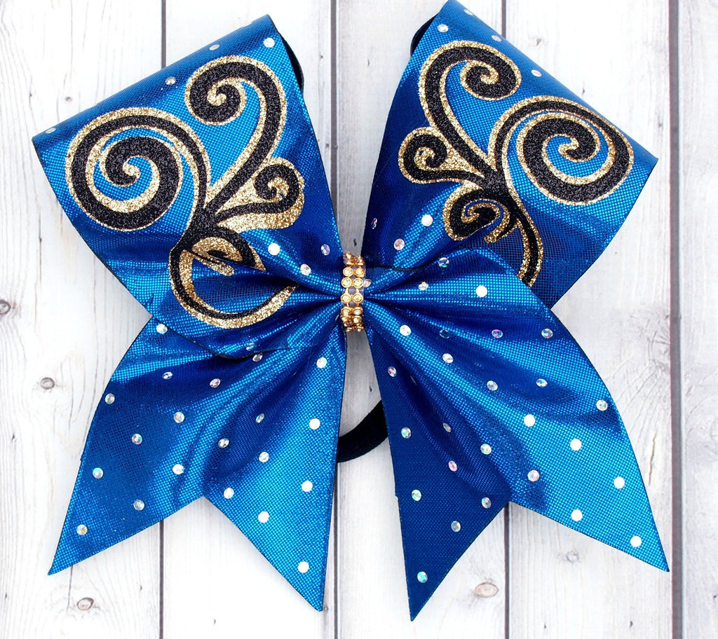 Swirl Cheer Bow for Competitions. Blue, gold, and black