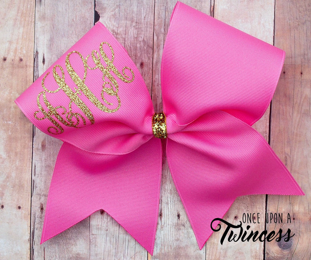 Pink monogram cheer bow, gold glitter bow, gifts for cheerleaders, big birthday bows, practice bows, pink cheer bow, gifts under 10