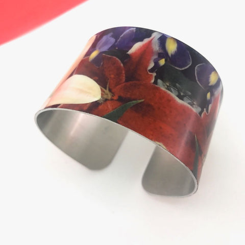 Aluminium Printed 'Floral Lilies' Bangle