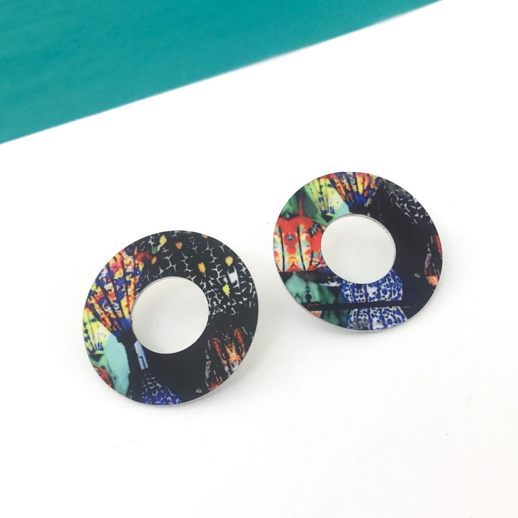 Jewellery. Handmade printed open circle earrings. Lantern design. Travel inspired.