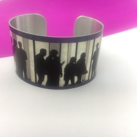 Aluminium printed 'People' wide bangle
