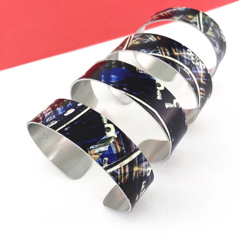 Aluminium printed 'blue ink painting' abstract bangles
