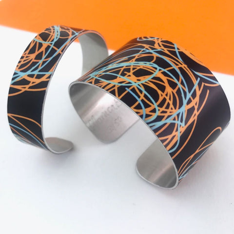 Aluminium printed 'Scribble' abstract bangle