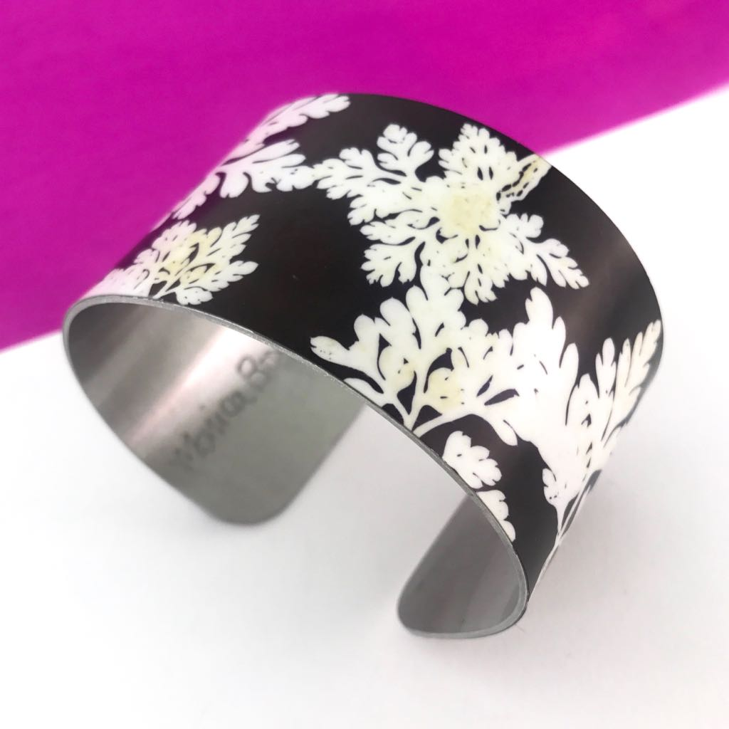 Aluminium printed 'In The Garden' wide bangle