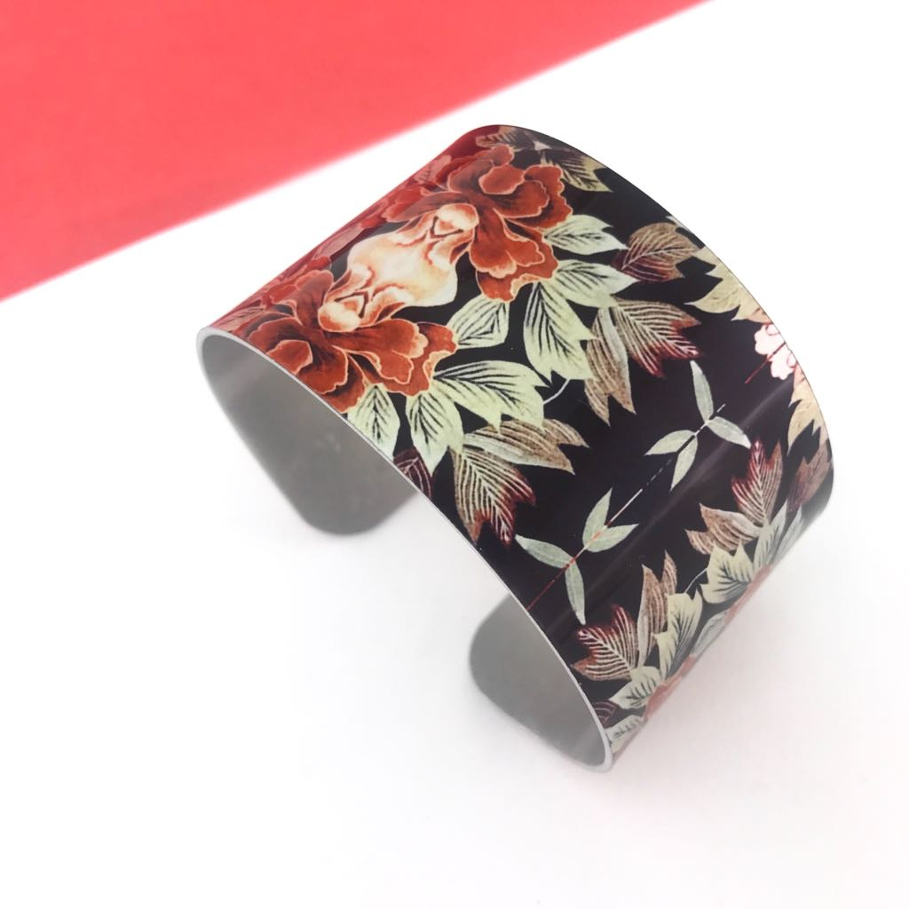 Aluminium printed 'Autumn Floral' wide bangle