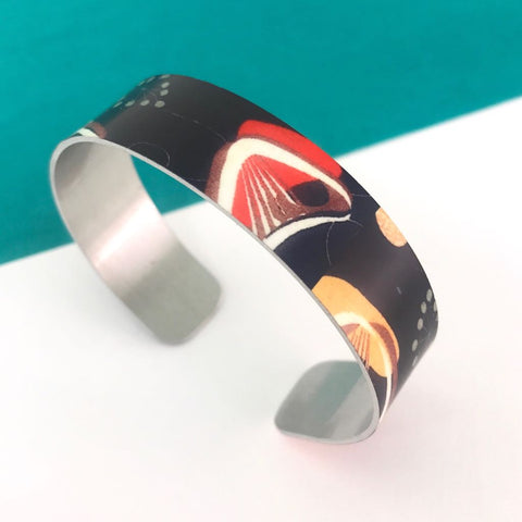 Aluminium Printed 'Vintage Black boomerang' Bangle