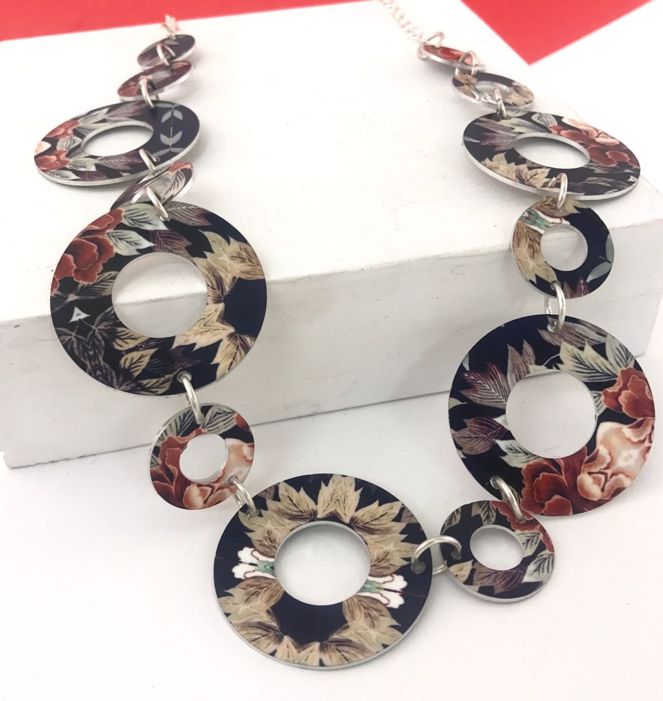 Aluminium Printed 'Autumn Floral' Link Necklace