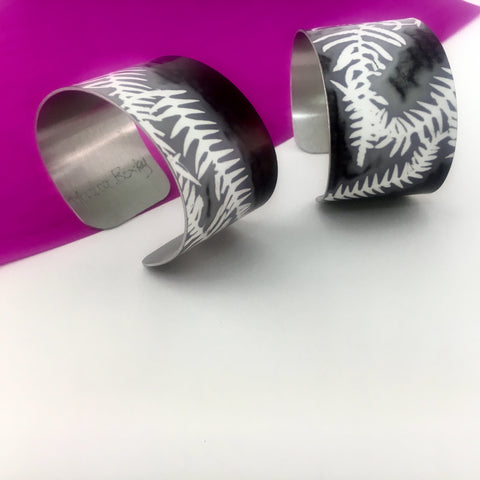 Aluminium Printed 'Fern' Wide Bangle