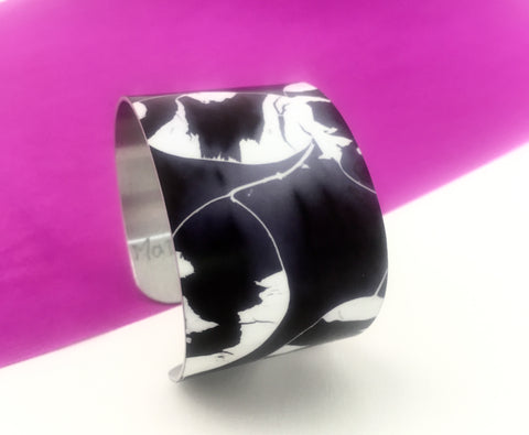 Aluminium printed 'Honesty' wide bangle
