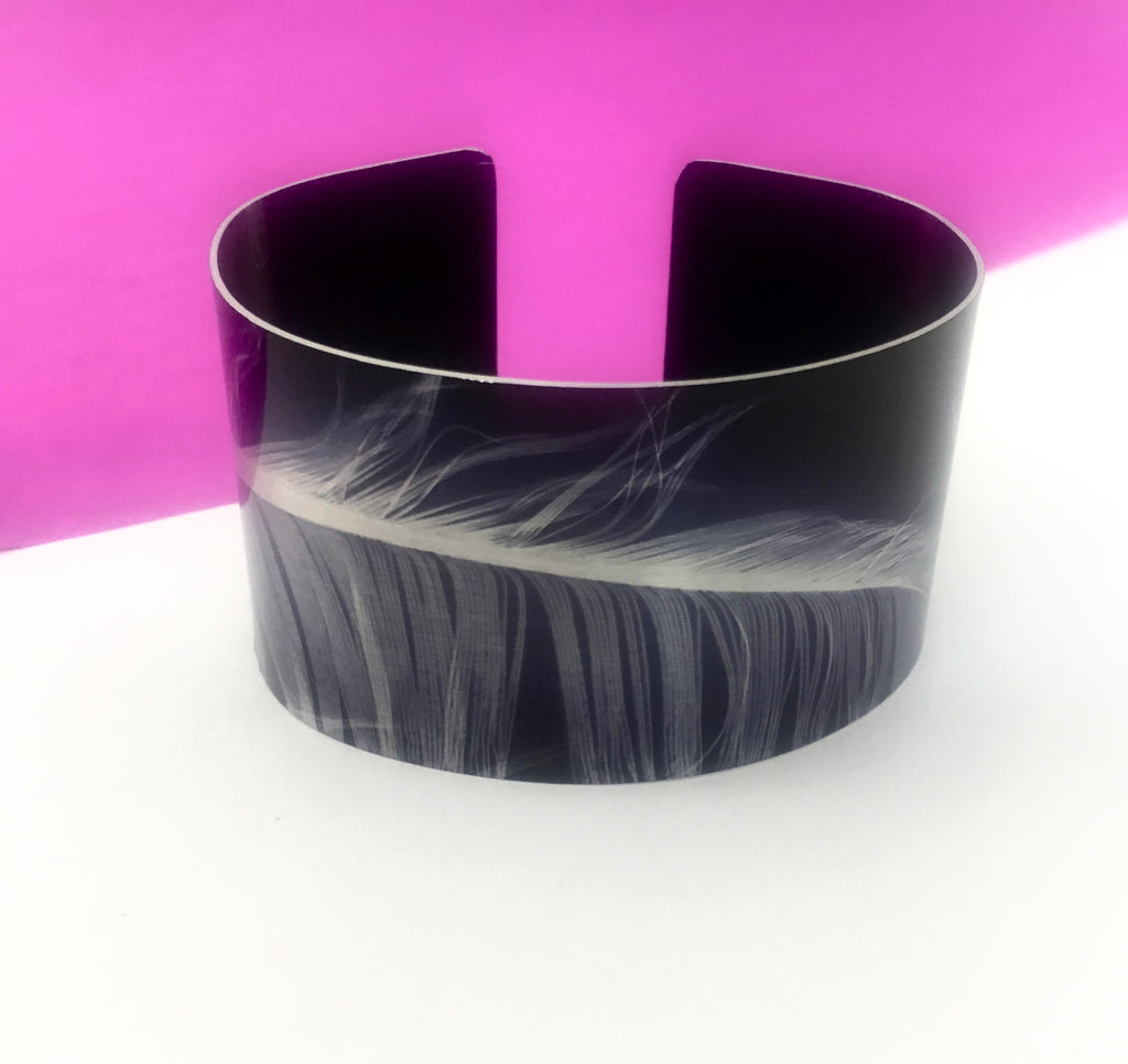 Aluminium Printed 'Feather' Wide Bangle