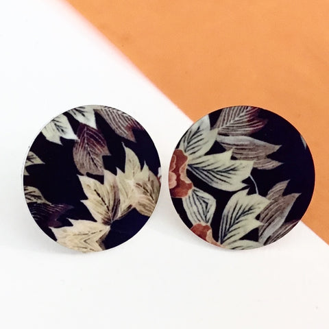 Jewellery / earrings. Aluminium Printed 'Autumn Floral disc stud earring