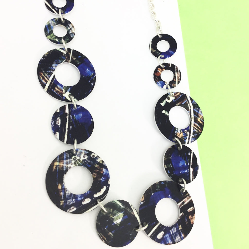 Aluminium printed 'ink and bleach blue' link necklace
