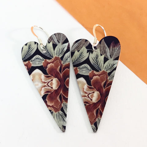 Jewellery / earrings. Aluminium Printed 'Autumn Floral heart drop earring