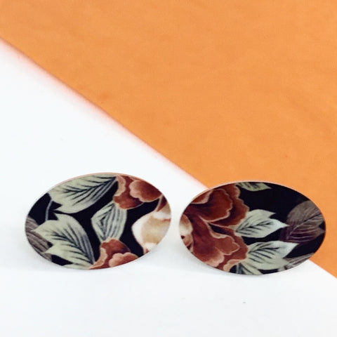 Jewellery / earrings. Aluminium Printed 'Autumn Floral' oval stud earring