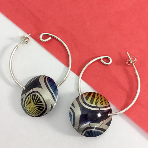 Jewellery / earrings. Aluminium Printed 'African print' hoop earrings
