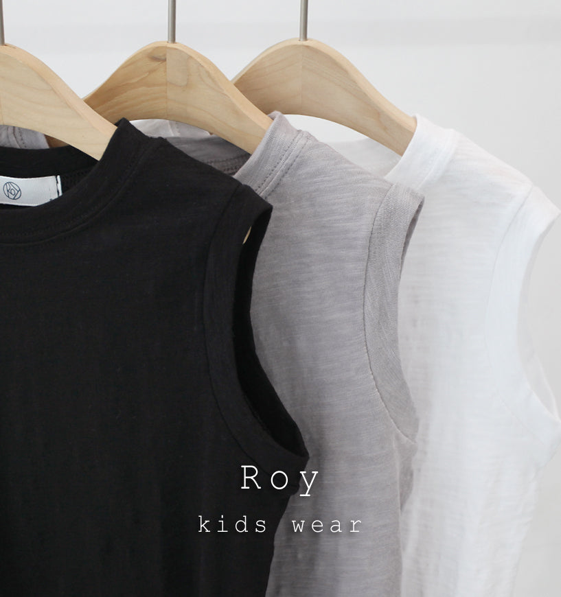 Boy Sleeveless Tank Top (White/ Grey/ Black)