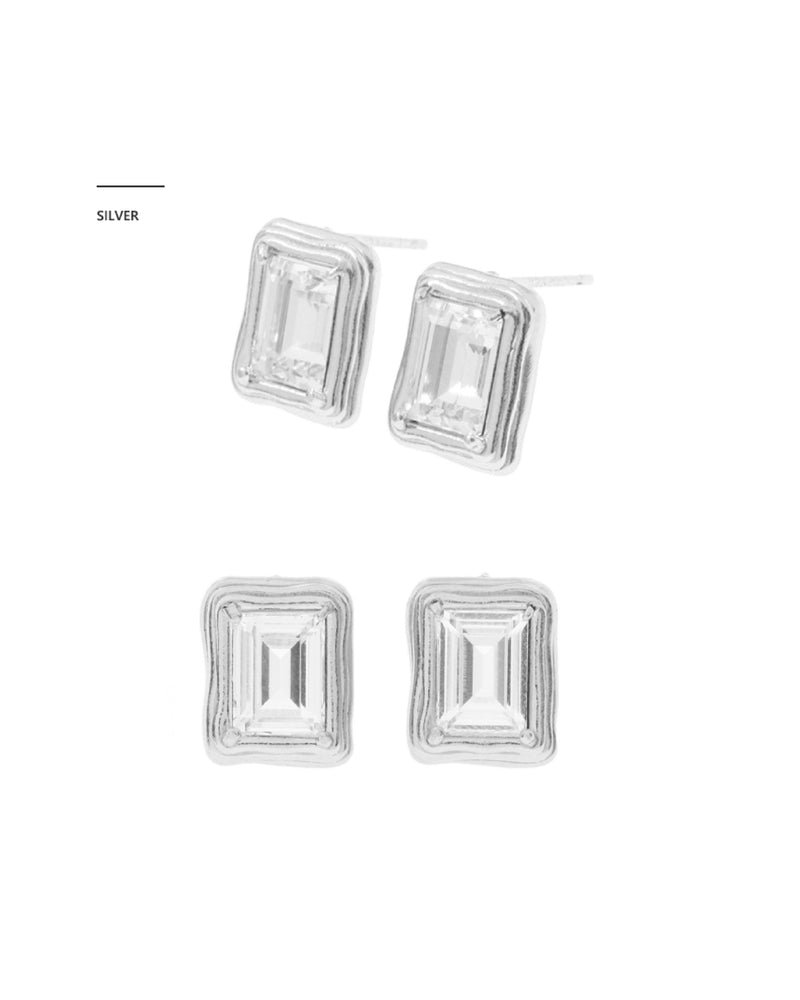 MZUU 1930 Small Frame Crystal Earrings (Gold/Silver)