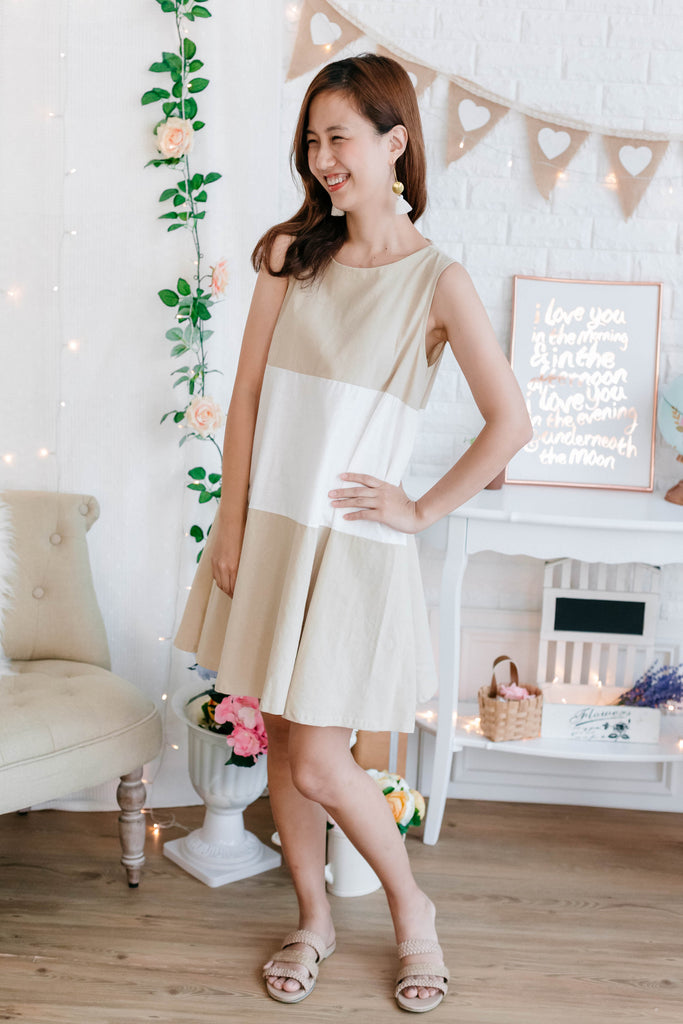 5b8fa97d5a9f37 Linen Sleeveless Dress with back ribbon (Navy  Beige) – Ksisters
