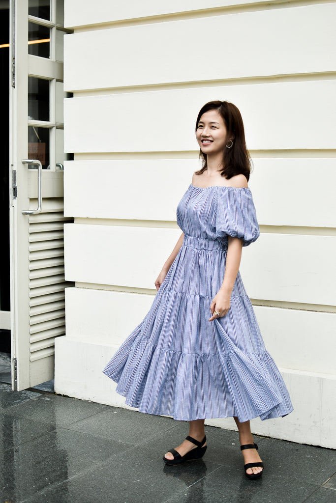 [2nd Restock] Off-shoulder Dress Navy Mum