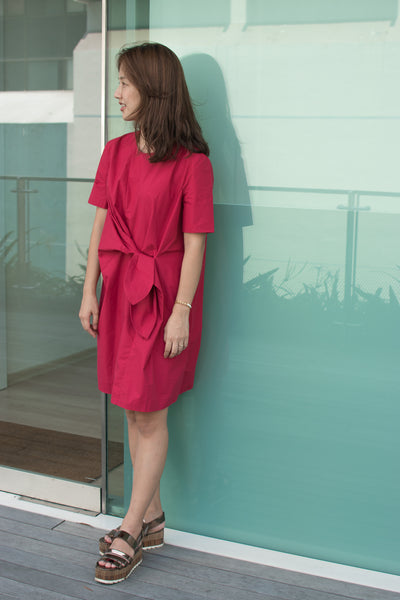 [PREORDER] Front Tie Dress Deep Red