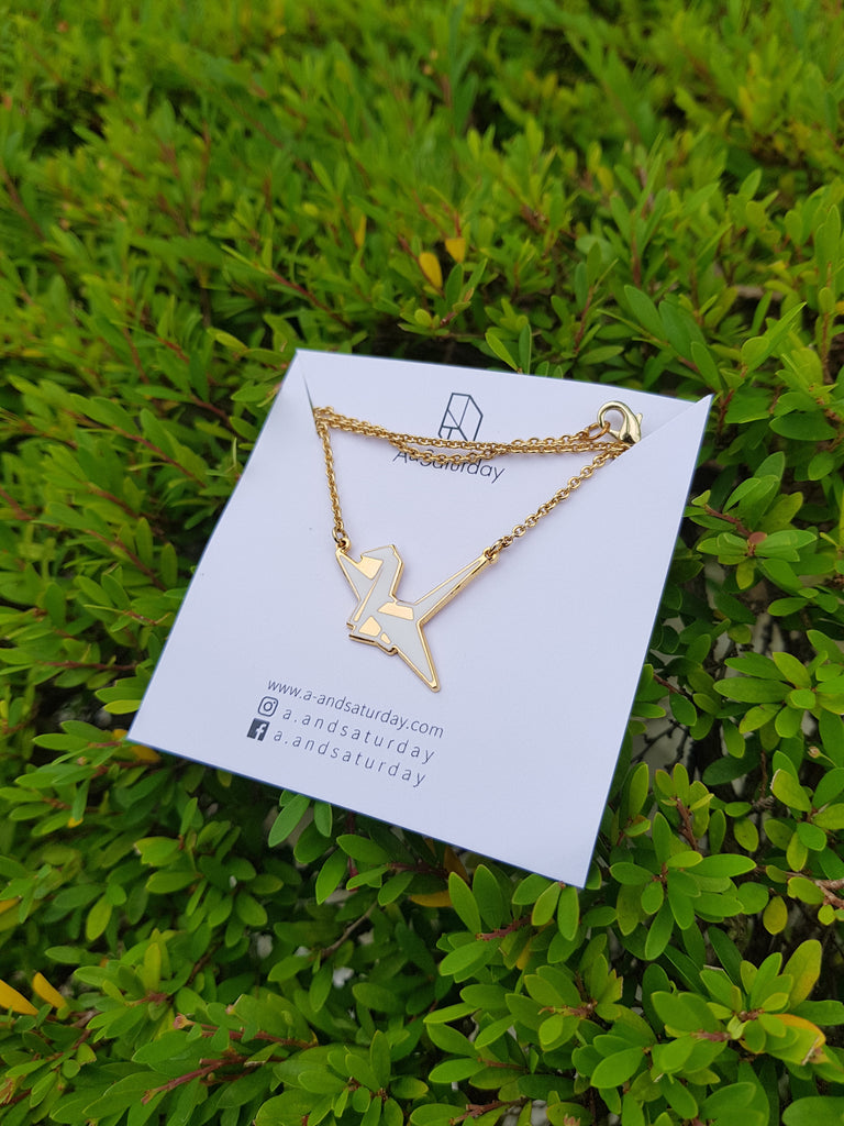 [PREORDER] Origami White Bird Necklace (Kid & Adult)