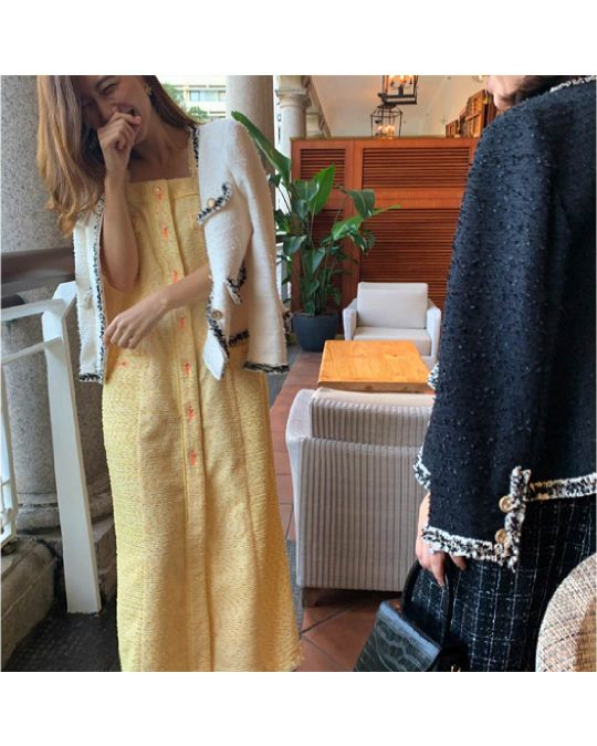 Coco Tweed Long Dress (Yellow/Black)