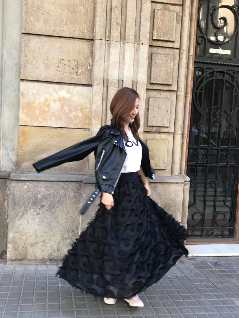 Flamenco Feathered Skirt (Ivory/Black)