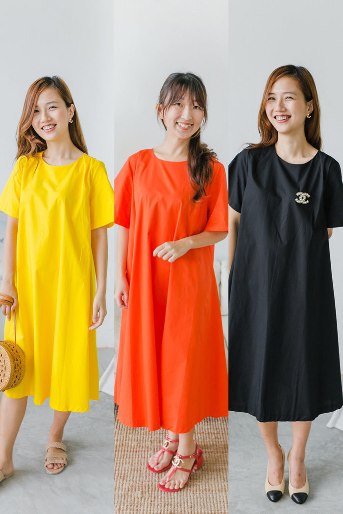 Trapeze Midi Dress (Yellow/ Orange/ Black)