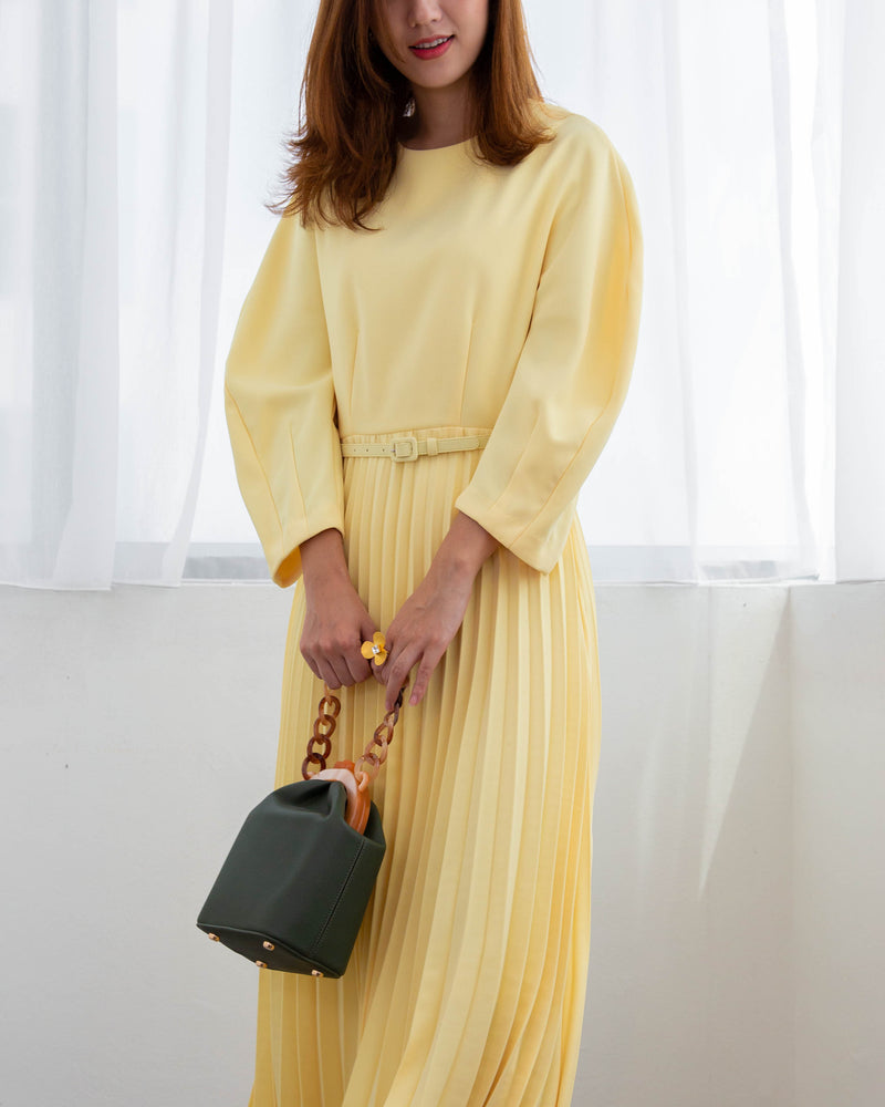 Belted Pleated Dress (Yellow/ Black)