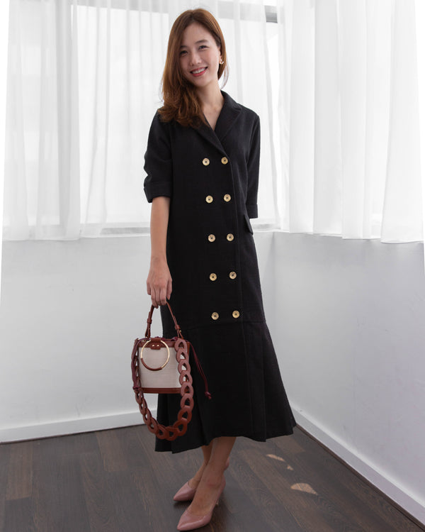 Tweed Button Dress (Cream/ Black)