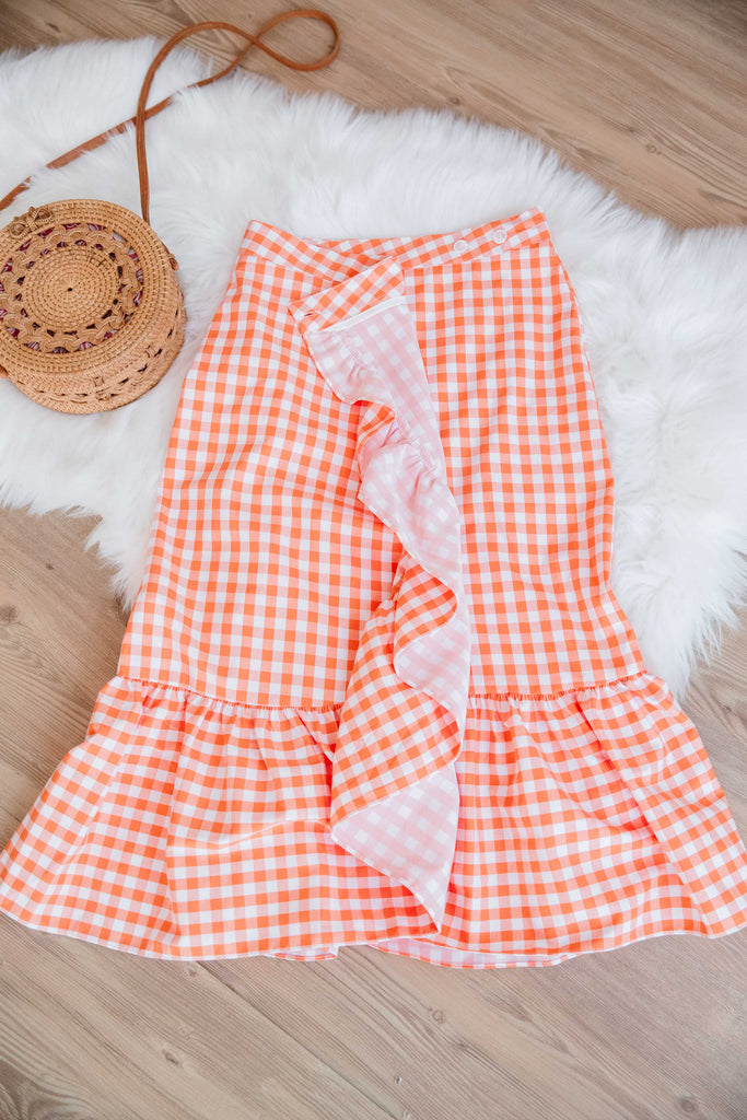 Checkered Ruffle Skirt (Blue/ Orange)
