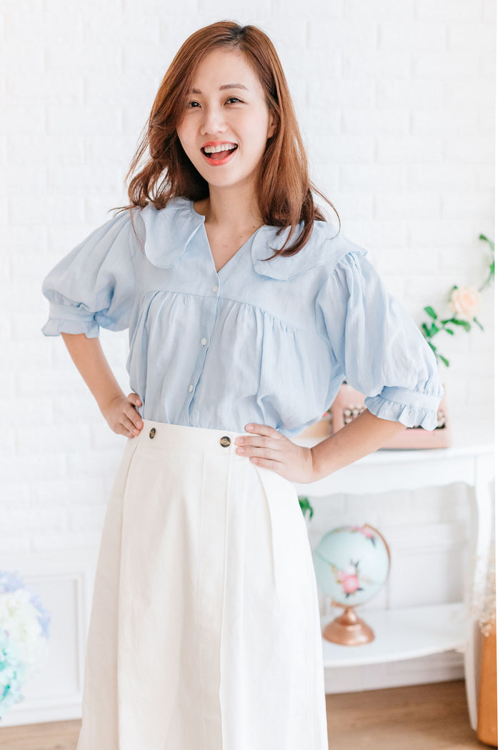 [PREORDER] Two-Button Waistband Skirt (White)