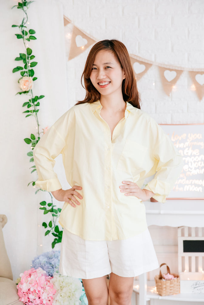 Summer Blouse (Lemon/ Lavender/ Blue Stripes)