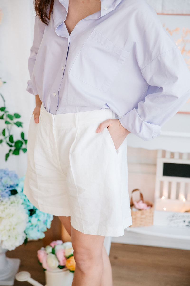 Summer Linen Shorts LUXE (White/Black)
