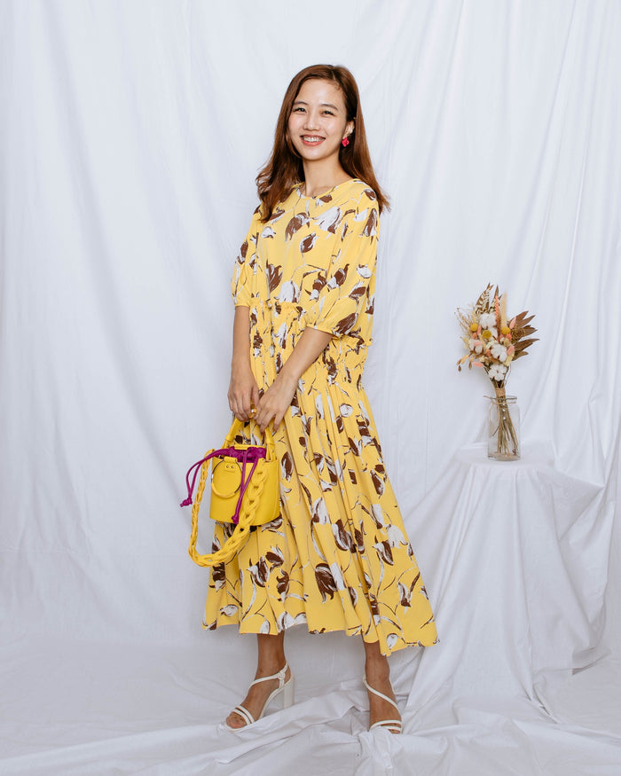 Floral Motif Maxi Dress (Beige/ Yellow)