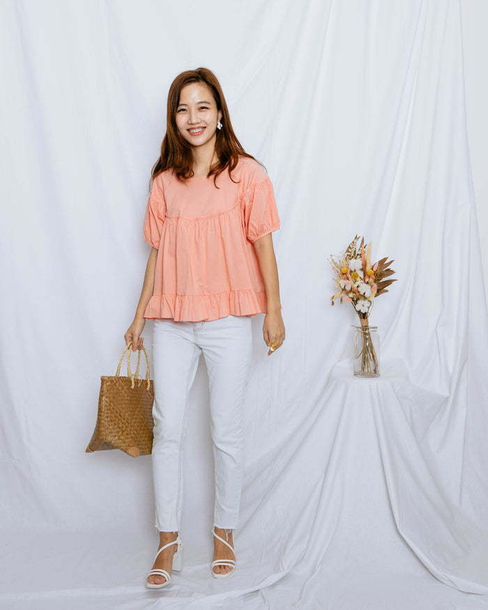 [Preorder] Ribbon Babydoll Blouse (Coral/Baby Blue)