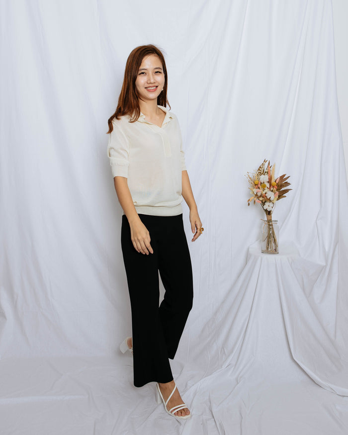 Open Collar Knit Blouse (Sky Blue/ Beige/ Black/ Cream)
