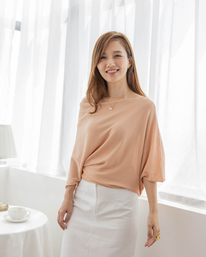 Drape Off Shoulder Top (Peach/Cream)