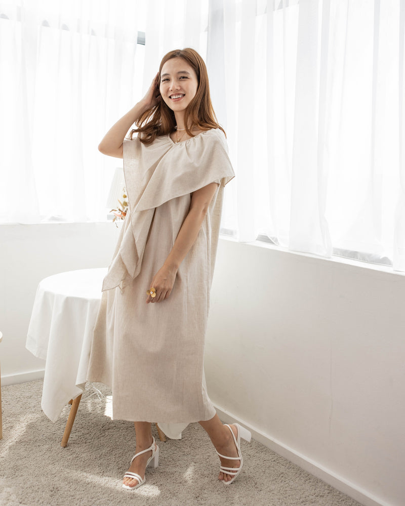 Off Shoulder Midi Dress (Oatmeal/White)