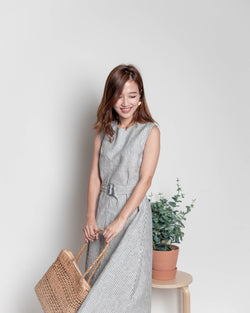 Sleeveless Striped Belted Dress (Charcoal/ Oatmeal/ Brown)
